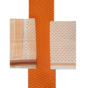 Ajrakh Dress Handloom Cotton Material for Women : Orange | AJ01