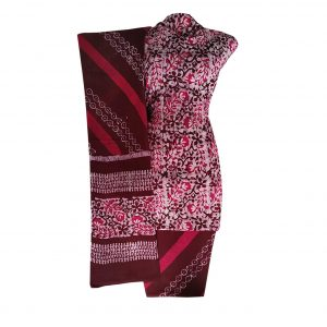 Batik Dress Handloom Cotton Material for Women : Maroon & Pink | BDM873