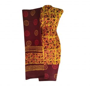 Batik Dress Handloom Cotton Material for Women : Orange & Maroon | BDM875