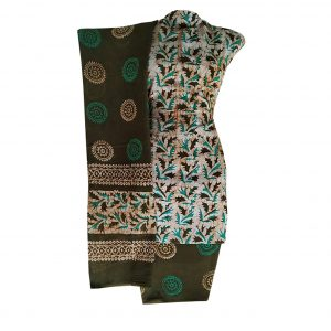 Batik Dress Handloom Cotton Material for Women : Green & Brown | BDM878