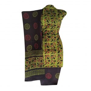 Batik Dress Handloom Cotton Material for Women : Maroon & Black | BDM879
