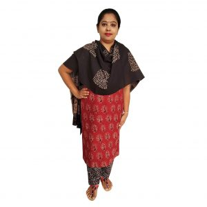Batik Dress Handloom Cotton Material for Women : Maroon & Black | BDM964