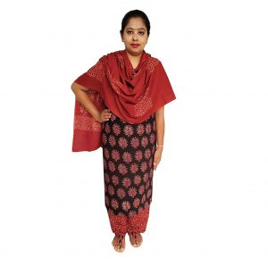 Batik Dress Handloom Cotton Material for Women : Maroon & Black | BDM965