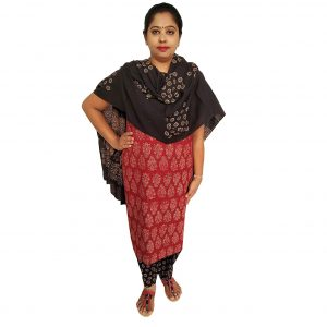 Batik Dress Handloom Cotton Material for Women : Maroon & Black | BDM966