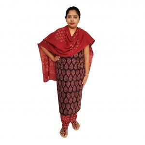 Batik Dress Handloom Cotton Material for Women : Maroon & Black | BDM967