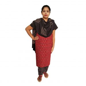 Batik Dress Handloom Cotton Material for Women : Maroon & Black | BDM968