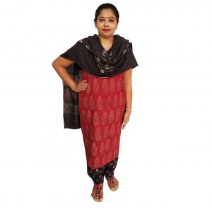 Batik Dress Handloom Cotton Material for Women : Maroon & Black | BDM970