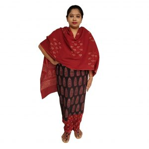 Batik Dress Handloom Cotton Material for Women : Maroon & Black | BDM971