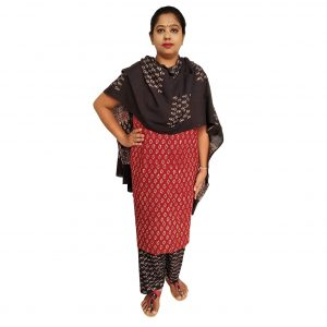 Batik Dress Handloom Cotton Material for Women : Maroon & Black | BDM972