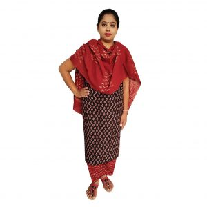 Batik Dress Handloom Cotton Material for Women : Maroon & Black | BDM973