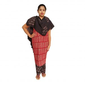 Batik Dress Handloom Cotton Material for Women : Maroon & Black | BDM974