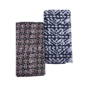 Lungi for Men Cotton Wax Batik Handloom : Blue, Brown, Set of 2 (L13)
