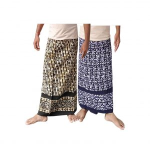 Lungi for Men Cotton Wax Batik Handloom : Blue & Green | Set of 2 | L38