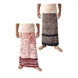 Lungi for Men Cotton Wax Batik Handloom : Maroon & Brown | Set of 2 | L39