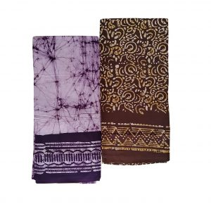 Lungi for Men Cotton Wax Batik Handloom : Purple & Brown | Set of 2 | L51