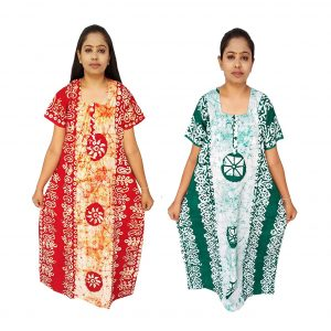 Batik Nighty Handloom Cotton for Women : Orange & Green | 2 Set | MX58