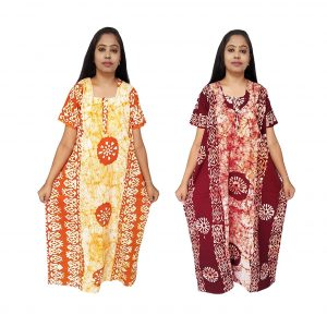 Batik Nighty Handloom Cotton for Women : Orange & Maroon | 2 Set | MX61-2