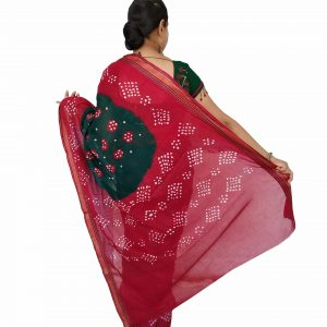 Bandhani Saree Handloom Cotton for Women : Gadhwal | SD25-2