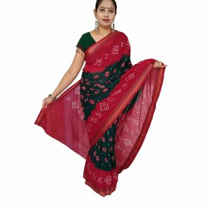 Bandhani Saree Handloom Cotton for Women : Gadhwal | SD25