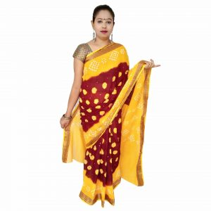 Bandhani Saree Handloom Cotton for Women : Gadhwal | SD31